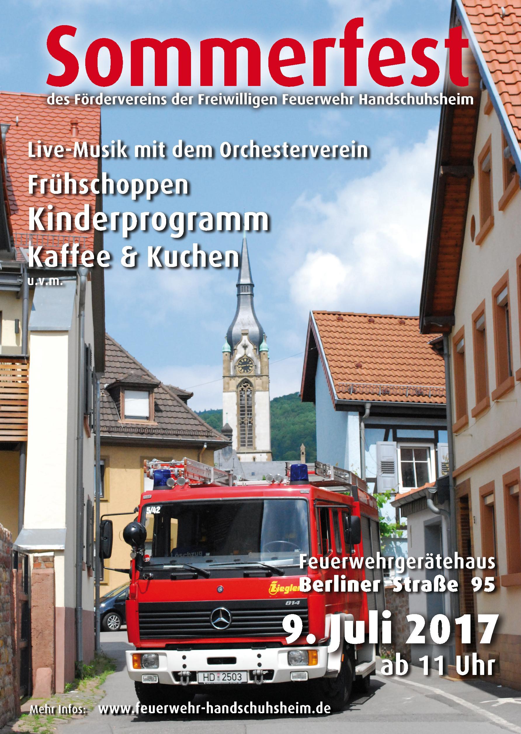 Plakat für das Sommerfest 2017 der freiwilligen Feuerwehr Handschuhsheim
