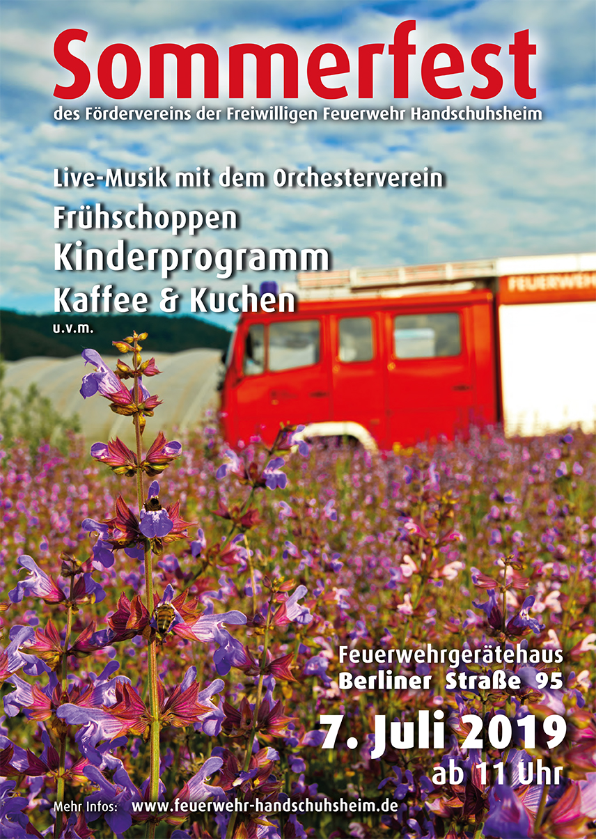 Plakat zum Sommerfest der Freiwilligen Feuerwehr Handschuhsheim am 07.07.2019